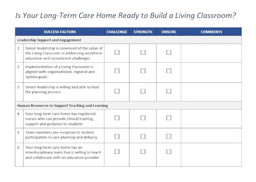 Screenshot of Readiness Checklist